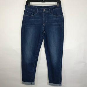 Levis Rolled Cuff Capri Blue Denim Skinny Jeans 29
